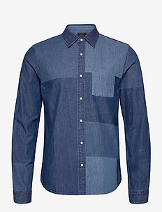 Ams Blauw denim shirt with patchwork detailing - basic skjorter - combo a