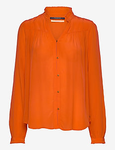 Feminine shirt with pleated detailing - long-sleeved shirts - orange shell