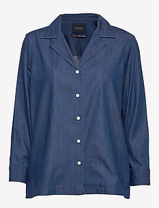 Ams Blauw chic denim shirt with island collar - jeansowe koszule - indigo