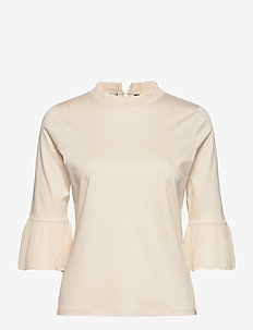 3/4 sleeve tee with pleated details - long sleeved blouses - ecru