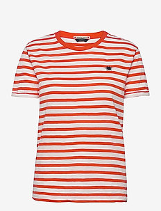 Organic Cotton easy stripe tee with chest embroidery - t-shirts - combo d