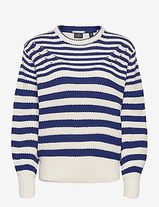 Chunky knitted pullover in cotton blend - pullover - combo a