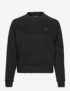 Crewneck sweater with special neck detail - sweatshirts - black