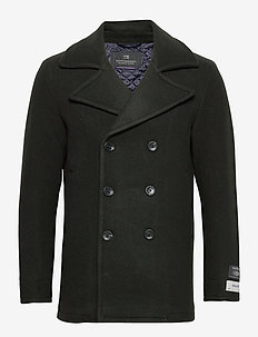 Classic wool-blend peacoat with quilted lining - wełniane kurtki - fern