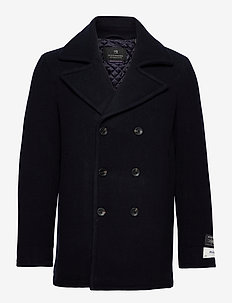 Classic wool-blend peacoat with quilted lining - wool jackets - night