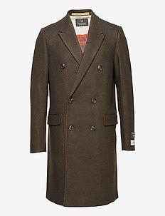 Classic double-breasted twill wool coat - villakangastakit - brown