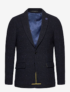 Classic single-breasted neps wool-blend blazer - marynarki - combo a