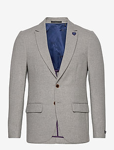 Classic single-breasted neps wool-blend blazer - kavajer - stone melange