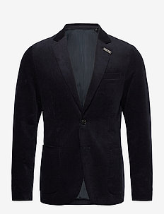 Single-breasted half-lined soft corduroy blazer - kavajer - night
