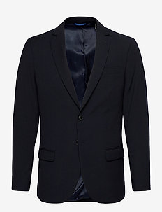 Classic single-breasted blazer in yarn-dyed pattern - kavajer - combo e