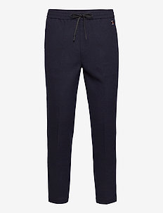 FAVE - Bonded wool-blend pant with elasticated waistband - casual broeken - navy