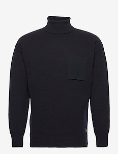 Wool-blend turtleneck pull with chestpocket - perusneuleet - night
