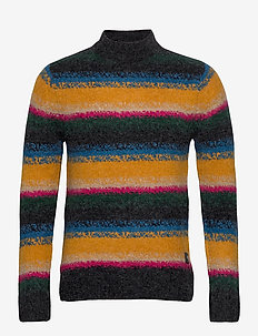 Wool-blend crewneck pull in bright stripe - turtleneck - combo a