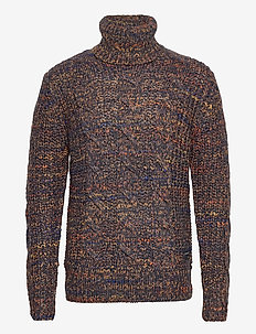 Multicolour wool-blend turtleneck pull in cable-knit - basisstrikkeplagg - combo a