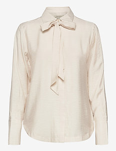 Shirt with bow at neck - langermede skjorter - off white