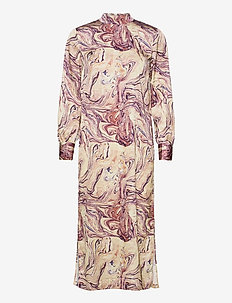 Marble printed high neck dress - maxi sukienki - combo h