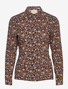Slim fit cotton viscose shirt - bluzki z długimi rękawami - combo e