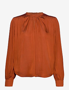 Top with smocking details and ruffle - langærmede bluser - copper