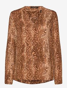 V-neck viscose top - blouses med lange mouwen - combo d