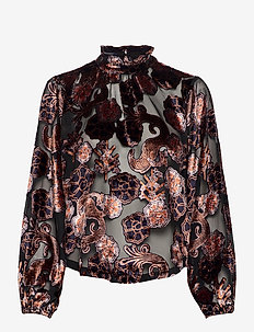 Top in printed sheer velvet quality - langermede bluser - combo a