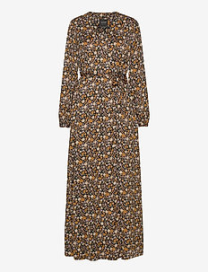 Printed maxi length wrapover dress - maxikjoler - combo e