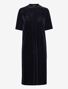 Midi length dress in striped velvet quality - robes midi - night