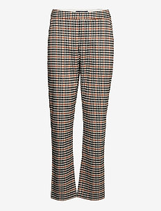 High waist straight ankle leg checked pants - rette bukser - combo q