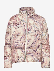 Soft quilted jacket in print and solid - wyściełane kurtki - combo h