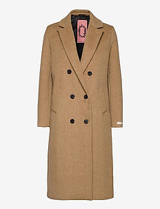 Tailored double breasted coat - manteaux en laine - sand melange