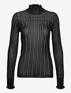 Fine knit in pointelle stitch - jumpers - black