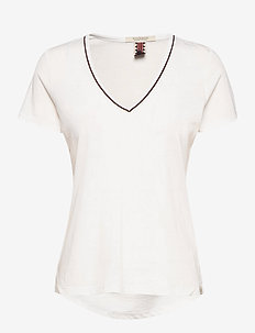 V-neck tee with lurex piping - t-shirts - off white