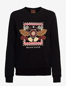 Crewneck sweat with embroidered artwork - sweatshirts - black