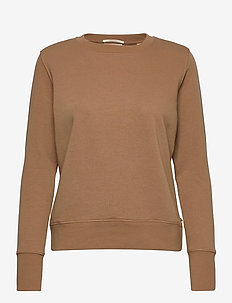 Relaxed fit crewneck sweat with tape at centre back - sweatshirts - camel