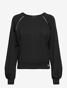 Soft crewneck sweat with tape detail - sweatshirts - black