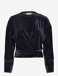 Striped velvet crewneck sweat with knot detail - sweatshirts - night