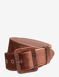 Velvet belt with snake buckle - bælter - chestnut