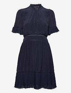 Feminine viscose dress with pleating details - short dresses - night