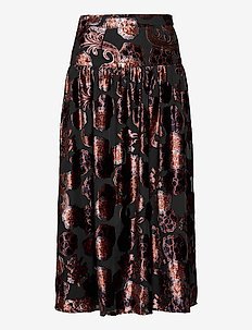 Voluminous skirt in sheer printed velvet quality - midi skjørt - combo a