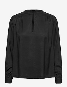 Viscose top with shoulder panel and gathers - langermede bluser - black