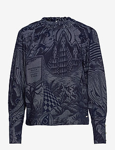 Ams Blauw top in seasonal indigo storytelling jacquard - langærmede bluser - combo a
