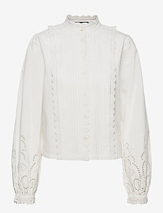 Crispy cotton top with broderie anglaise details - langærmede bluser - off white
