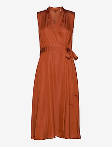 Sleeveless midi length wrap dress with tie - slå-om-kjoler - copper