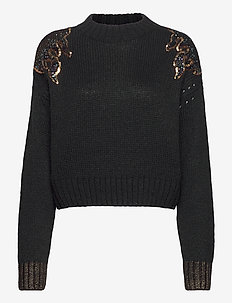 Pullover knit with flame pattern - gensere - black