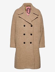 Oversized coat in boucle quality - ullkåper - sand melange