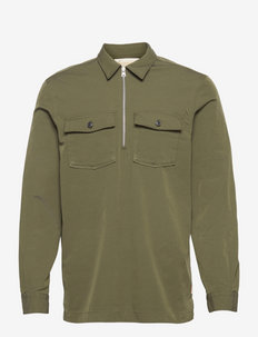 Relaxed twill overshirt with half-zip closure - windjassen - army