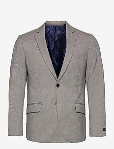 Classic single breasted blazer in yarn-dyed pattern - single breasted blazers - combo f