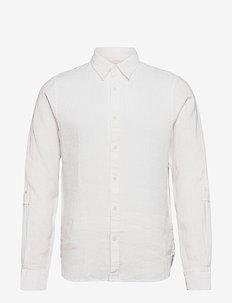 REGULAR FIT- Garment-dyed linen shirt with sleeve roll-up - basic-hemden - denim white
