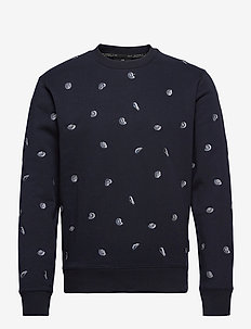 All-over embroidered crewneck sweat - tops - combo b