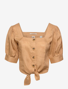 Beach top in linen quality - short-sleeved blouses - straw