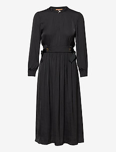 Midi length dress with fitted waist and tie details - hverdagskjoler - black